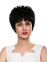 cheap -Synthetic Wig Curly / Natural Wave Style Pixie Cut Capless Wig Black Natural Black Synthetic Hair 8 inch Women's Synthetic / New / Comfortable Black Wig Short Cosplay Wig / African American Wig