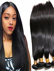 Недорогие -4 Связки Бразильские волосы Прямой 100% Remy Hair Weave Bundles Человека ткет Волосы Пучок волос Накладки из натуральных волос 8-28 дюймовый Естественный цвет Ткет человеческих волос
