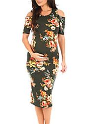 tanie -Damskie Wyrafinowany styl Elegancja Pochwa Sukienka - Kwiaty, Z marszczeniami Nadruk Nad kolano