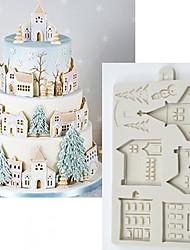Недорогие -Рождественский пряничный домик силиконовые формы помадка формы инструменты для украшения торта шоколад gumpaste sugarcraft кухонные гаджеты