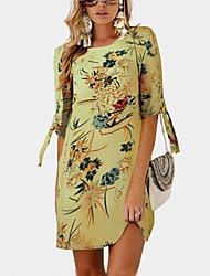 povoljno -Žene Osnovni Boho Shift Majica Haljina - Print, Cvjetni print Color block Iznad koljena