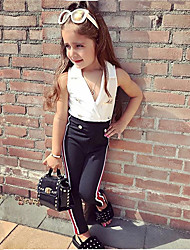 tanie -Dzieci / Brzdąc Dla dziewczynek Aktywny / Podstawowy Solidne kolory / Prążki Bez rękawów Regularny Bawełna / Spandeks Komplet odzieży Biały