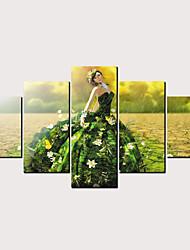 hesapli -Boyama Haddelenmiş Kanvas Tablolar - Soyut Çiçek / Botanik Klasik Modern Beş Panelli