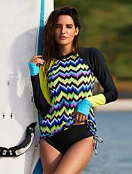 ราคาถูก -Delamon สำหรับผู้หญิง ดำน้ำที่เหมาะกับสภาพผิว ชุดว่ายน้ำ Rashguard น้ำหนักเบาพิเศษ (UL) แห้งเร็ว สวมใส่ได้ ไนลอน Elastane แขนยาว ชุดว่ายน้ำ ชุดสำหรับไปชายหาด ชุดว่ายน้ำ ลายต่อ การว่ายน้ำ Surfing