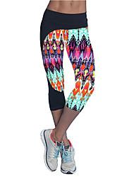 abordables -Femme Pantalon de yoga Rouge Vert Bleu Des sports Bloc de Couleur Corsaire Course / Running Fitness Entraînement de gym Tenues de Sport Séchage rapide Doux Contrôle du Ventre Power Flex Elastique Slim