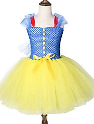 お買い得  -子供 / 幼児 女の子 甘い / かわいいスタイル パッチワーク メッシュ ノースリーブ 膝丈 スパンデックス ドレス