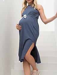 tanie -Damskie Podstawowy Elegancja T-shirt Tunika Sukienka - Solidne kolory, Wiązanie Midi