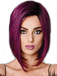 cheap -Synthetic Wig Natural Straight Style Middle Part Capless Wig Burgundy Dark Red Synthetic Hair 12 inch Women's Youth Burgundy Wig Medium Length Natural Wigs