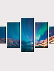 billige -Trykk Valset lerretskunst Strukket Lerret Trykk - Landskap Moderne Vintage Moderne Fem Paneler