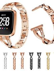 Недорогие -Ремешок для часов для Fitbit Versa / Fitbit Versa Lite Fitbit Дизайн украшения Нержавеющая сталь Повязка на запястье