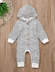 billige -Baby Gutt Grunnleggende Stripet Klassisk Stil / Stripe / Grunnleggende Langermet Bomull / Polyester Endelt Hvit