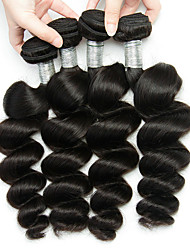 cheap -4 Bundles Peruvian Hair Loose Wave Unprocessed Human Hair Natural Color Hair Weaves / Hair Bulk Bundle Hair Human Hair Extensions 8-28inch Natural Color Human Hair Weaves Fashionable Design Soft Best