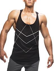 お買い得  -男性用 Tシャツ ソリッド ブラック L