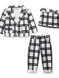 levne -Děti / Toddler Dívčí Aktivní / Základní Kostičky Tisk Dlouhý rukáv Krátké Standardní Bavlna / Spandex Sady oblečení Bílá