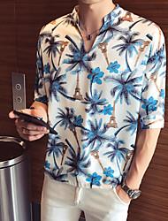 Недорогие -Муж. С принтом Рубашка Геометрический принт Белый XL