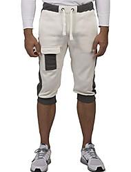 abordables -Hombre Básico Shorts Pantalones - Un Color Blanco