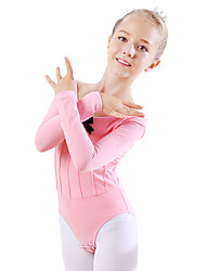 cheap -Kids' Dancewear / Ballet Leotards Girls' Training / Performance Cotton Bow(s) Long Sleeve Natural Leotard / Onesie