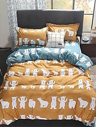 preiswerte -Bettbezug-Sets Cartoon Design / Zeitgenössisch Polyester Bedruckt 4 StückBedding Sets