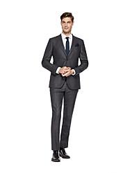 お買い得  -ダック ソリッド スタンダードフィット ウール スーツ - ノッチドラペル シングルブレスト 二つボタン