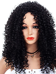 저렴한 -인조 합성 가발 아프리카 킨키 스타일 무료 부품 캡 없음 가발 블랙 블랙과 골드 인조 합성 헤어 22 인치 여성용 여성 / 합성의 / 흑인여성 제품 블랙 가발 중간 길이 내츄럴 가발