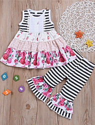 hesapli -Bebek Genç Kız Temel Desen Desen Kolsuz Normal Pamuklu / Polyester Kıyafet Seti Beyaz