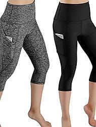 お買い得  -女性用 ヨガパンツ ブラック グレー スポーツ 純色 3/4 タイツ ボトムズ ダンス ランニング フィットネス アクティブウェア 高通気性 吸汗性 速乾性 バットリフト 高弾性 タイト