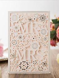 """ราคาถูก -พับด้านข้าง เชิญแต่งงาน 20 - การ์ดส่งบัตรเชิญ Artistic Style Pure Paper 7 1/5""""×5"""" (18.4*12.8ซม.) Embossed"""