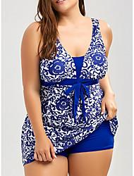 baratos -Mulheres Azul Preto Tanquini Roupa de Banho - Geométrica XXXL XXXXL XXXXXL Azul