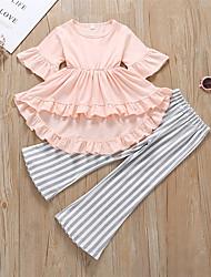זול -סט של בגדים חצי שרוול פסים בנות ילדים / פעוטות