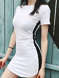 お買い得  -女性用 ベーシック ボディコン ドレス - パッチワーク, ストライプ ミニ