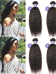 Недорогие -4 Связки Перуанские волосы Вытянутые Не подвергавшиеся окрашиванию 100% Remy Hair Weave Bundles Головные уборы Человека ткет Волосы Пучок волос 8-28 дюймовый Нейтральный Ткет человеческих волос