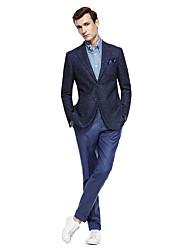 billiga -Djupblå / Mörkgrå / Mörk Marin Enfärgad Standardpassform Kostym - Trubbig Singelknäppt Två knappar