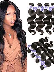 billige -4 pakker Indisk hår Krop Bølge Ubehandlet Menneskehår 100% Remy Hair Weave Bundles Hovedstykke Menneskehår, Bølget Bundle Hair 8-28 inch Naturlig Menneskehår Vævninger Moderigtigt Design Dame Bedste