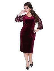 Недорогие -Жен. Элегантный стиль Облегающий силуэт Платье - Однотонный, Пэчворк Средней длины