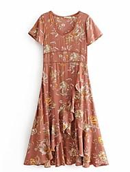 billiga -kvinnors asymmetriska svängklänning ljusbrun s m l