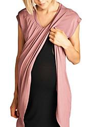 tanie -Damskie Podstawowy Elegancja T-shirt Tunika Sukienka - Solidne kolory, Patchwork Do kolan