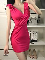 お買い得  -女性用 ベーシック シース ドレス - パッチワーク, ソリッド ミニ