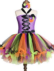 お買い得  -子供 / 幼児 女の子 甘い / かわいいスタイル パッチワーク メッシュ ノースリーブ 膝丈 スパンデックス ドレス レインボー