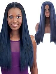 billige -Syntetiske parykker Kinky Glat Stil Mellemdel Lågløs Paryk Blåt Sort / Blå Syntetisk hår 26 inch Dame Dame Blåt Paryk Lang Naturlig paryk