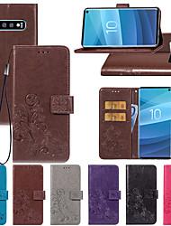 Недорогие -Кейс для Назначение SSamsung Galaxy S9 / S9 Plus / S8 Plus Бумажник для карт / со стендом / Магнитный Чехол Цветы Твердый Кожа PU
