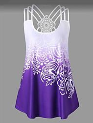 billige -T-skjorte Dame - Geometrisk / Fargeblokk, Flettet / Netting / Trykt mønster Grønn XXXL