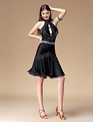 economico -Balli latino-americani Vestiti Per donna Prestazioni Chinlon / Tessuto costumi da bagno Con balze strutturate / Nappa Senza maniche Abito