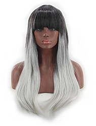 cheap -Synthetic Wig kinky Straight Style Middle Part Capless Wig Silver Sliver White Synthetic Hair 26 inch Women's Women Silver Wig Long Natural Wigs