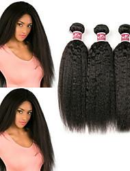 Недорогие -3 Связки Бразильские волосы Естественные прямые Яки Необработанные натуральные волосы 100% Remy Hair Weave Bundles Головные уборы Человека ткет Волосы Пучок волос 8-28 дюймовый Естественный цвет