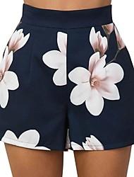 billiga -Dam Grundläggande Shorts Byxor - Blommig Blå