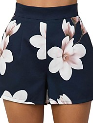 cheap -Women's Basic Shorts Pants - Floral Blue