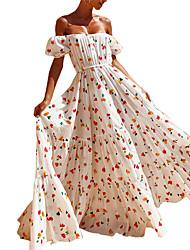 preiswerte -A-Linie Schulterfrei Boden-Länge Jersey Kleid mit Muster / Druck / Plissee durch LAN TING Express
