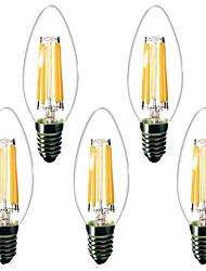 Недорогие -5 шт. 4 W LED лампы в форме свечи LED лампы накаливания 450 lm E14 C35 6 Светодиодные бусины Высокомощный LED Декоративная Тёплый белый 220-240 V 220 V 230 V