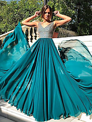 preiswerte -A-Linie V-Ausschnitt Boden-Länge Chiffon Kleid mit Paillette / Plissee durch LAN TING Express