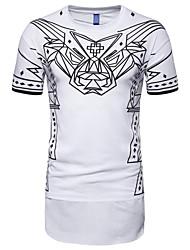 abordables -Hombre Estampado Camiseta A Rayas Blanco XL